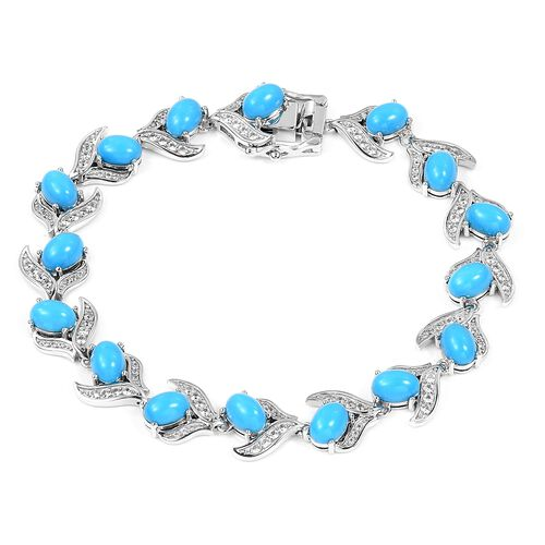 Arizona Sleeping Beauty Turquoise (Ovl), Natural White Cambodian Zircon Bracelet in Rhodium Overlay Sterling Silver 13.330 Ct, Silver wt 12.80 Gms.