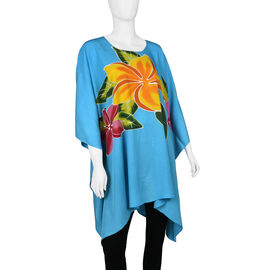 Bali Collection - Hand Painted Frangipani Floral Pattern Poncho - Turquoise (Free Size)