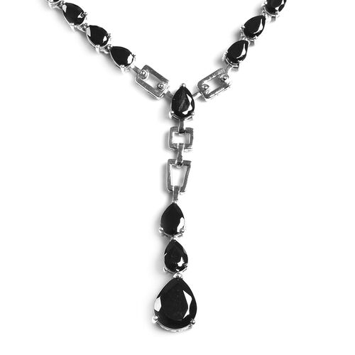 Elite Shungite Lariat Necklace (Size 18 with 2 inch Extender) in Platinum Overlay Sterling Silver 14.00 Ct, Silver wt 22.89 Gms