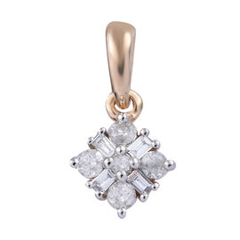 9K Yellow Gold SGL Certified Diamond (Bgt and Rnd) (I3/G-H) Pendant 0.20 Ct.