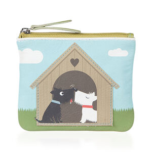Mala Super Soft Genuine Leather Dog in Love Cards and Coin Purse (Size 12 x 8 Cm) (Navigation Fashion Accessories Handbags) photo