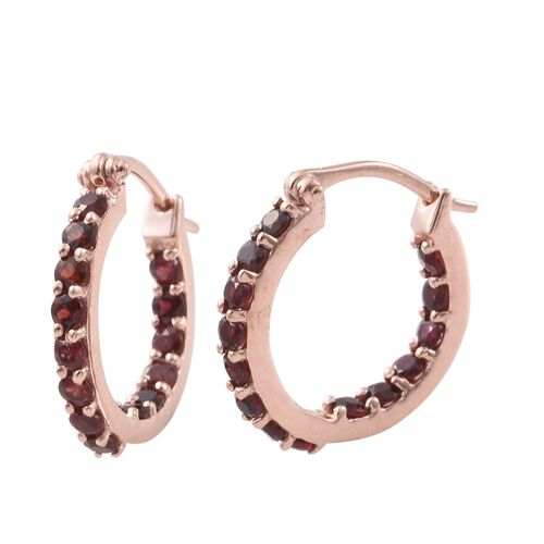 Arizona Anthill Garnet (Rnd) Hoop Earrings (with Clasp) in Rose Gold Overlay Sterling Silver 1.750 Ct.