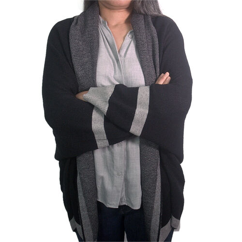 Kris Ana Coloured Border Cardigan One Size - Black