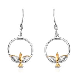 Platinum and Yellow Gold Overlay Sterling Silver Flying Bird Circle Hook Earrings