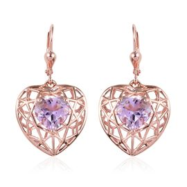 GP 4.75 Ct Rose De France Amethyst and Blue Sapphire Heart Earrings in Rose Gold Plated Silver