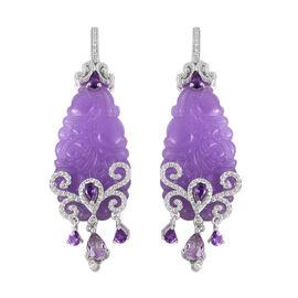 54.18 Ct Purple Jade and Multi Gemstones Drop Earrings in Rhodium Plated Sterling Silver 12.19 Grams