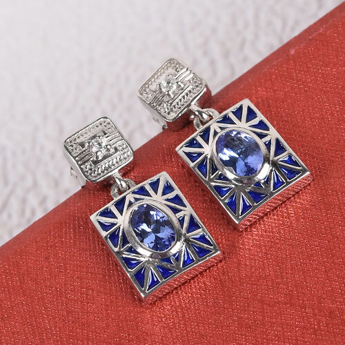 Tanzanite and Natural Cambodian Zircon Dangling Enamelled Earrings (with Push Back) in Platinum Overlay Sterling Silver 1.00 Ct.