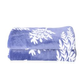 Microfiber Flannel Printed Blanket with Leaf Pattern in Purple and White Colour (Size 200x150 Cm)