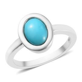 Arizona Sleeping Beauty Turquoise (Ovl 8x6mm) Solitaire Ring in Platinum Overlay Sterling Silver 1.1