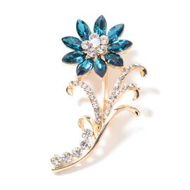 Simulated London Blue Topaz (Mrq), White Austrian Crystal and Magic Colour Austrian Crystal Flower Brooch in Yellow Gold Tone