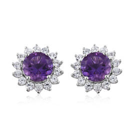 10.25 Ct Lusaka Amethyst and Zircon Floral Stud Earrings in Platinum Plated Silver
