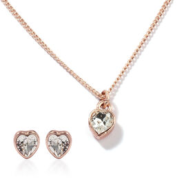 2 Piece Set - ETERNITY Crystal from Swarovski Heart Necklace (Size 18 with 2 inch Extender) and Earr