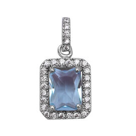 ELANZA Simulated Aquamarine (Oct), Simulated Diamond Pendant in Rhodium Overlay Sterling Silver