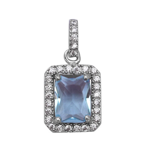 ELANZA Simulated Aquamarine and Simulated Diamond Halo Pendant in Rhodium Plated Sterling Silver