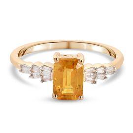 9K Yellow Gold AA Yellow Sapphire and White Diamond Ring 1.36 Ct.