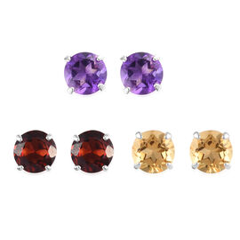 Set of 3 -  Mozambique Garnet, Amethyst and Citrine Stud Earrings (with Push Back) in Sterling Silve
