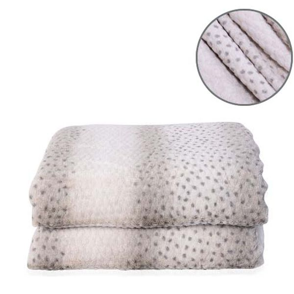 Faux Fur Leopard Pattern Sherpa Blanket (Size 150x200cm) - Off-White and Grey