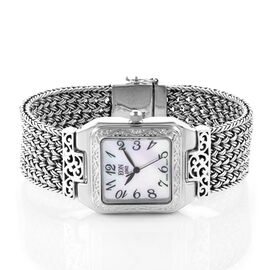 Royal Bali Collection EON 1962 Swiss Movement Sterling Silver Braided Bracelet Watch (Size 7), Silve
