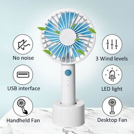 Rechargeable Mini Handheld Desk Fan with Three Speed Settings (Size 10.5x22.1x4.2  Cm) - Blue and Wh