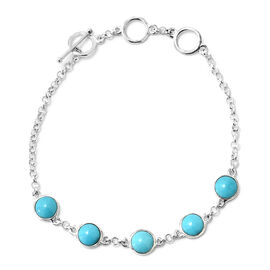Arizona Sleeping Beauty Turquoise (Rnd) Bracelet (Size 6.5 - 7.5) in Sterling Silver 3.850 Ct.