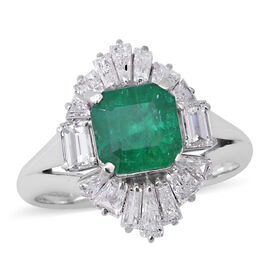 Signature Collection - 900 Platinum AAAA Boyaca Colombian Emerald (Oct 6.5x6.5mm), Diamond (SI-I1/G-