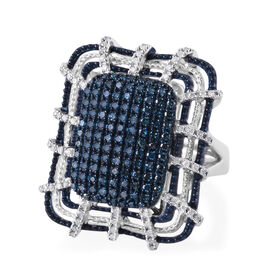 Blue and White Diamond (Rnd) Ring in Platinum Overlay Sterling Silver 1.000 Ct, Silver wt 10.46 Gms,