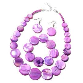 3 Piece Set - Purple Shell Necklace (Size 18 with 2 inch Extender), Stretchable Bracelet (Size 7) an