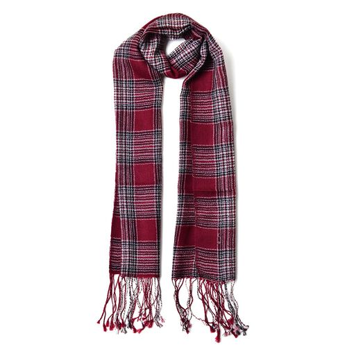 Close Out Deal -  Super Soft - 100% Wool Red, Black and Multi Colour Checks Pattern Scarf with Tassels (Size 160X40 Cm)