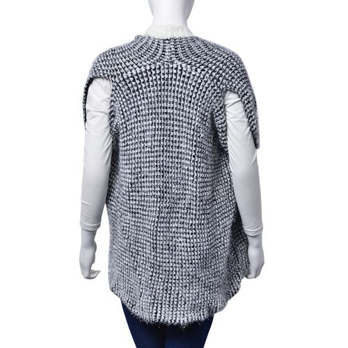 Italian Designer Inspired-Black and White Colour Sleeveless Ruana (Free Size)
