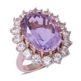 Cocktail Collection-Rose De France Amethyst (Ovl 20x15 mm), Natural White Cambodian Zircon (Rnd 4mm) Ring in Rose Gold and Rhodium Overlay Sterling Silver 23.000 Ct.
