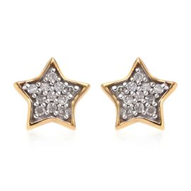 Diamond Star Stud Earrings (with Push Back) in 14K Gold Overlay Sterling Silver 0.09 Ct.