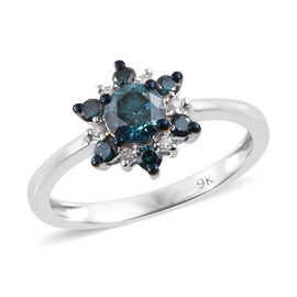 9K White Gold Blue and White Diamond (Rnd) Flower Ring 0.750 Ct.