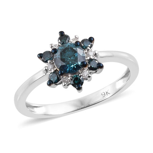 9K White Gold Blue and White Diamond (Rnd) Flower Ring 0.750 Ct.