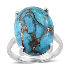 10 Ct Mojave Blue Turquoise Solitaire Ring in Sterling Silver