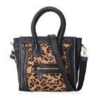 100% Genuine Leather Leopard Pattern Tote Bag with Detachable Shoulder Strap (Size 26x10x24 Cm) - Bl