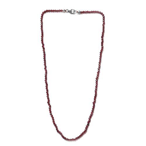 Rhodolite Garnet Beaded Necklace (Size 18) in Sterling Silver 37.65 Ct.