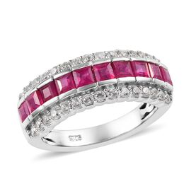 African Ruby (1.15 Ct),Cambodian Zircon Platinum Overlay Sterling Silver Ring  2.000  Ct.