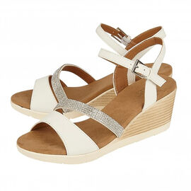 Lotus Lilou Wedge Sandals in White Colour