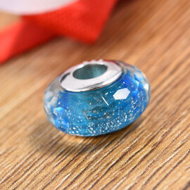 Charmes De Memoire Blue and Silver Murano Style Glass Bead Charm in Platinum Plated Sterling Silver