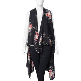 Designer Inspired-Pink, Blue and Black Colour Floral Kimono (Size 145x130 Cm)