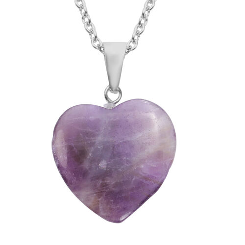 Amethyst Heart Pendant with Chain (Size 20) in Silver Tone 21.50 Ct.