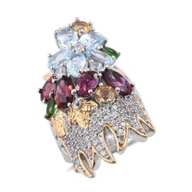 GP Rhodolite Garnet (Ovl), Sky Blue Topaz and Multi Gemstone Ring in Platinum and Yellow Gold Overla