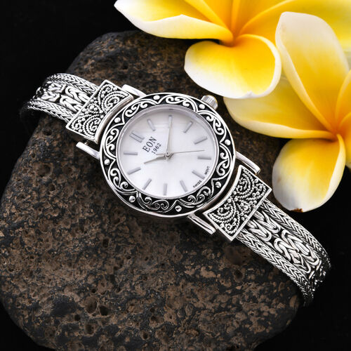 Royal Bali Collection - EON 1962 Swiss Movement Water Resistant Filigree 4 Row Tulang Naga and Borobudur Bracelet Watch (Size 7) in Sterling Silver, Silver wt 34.00 Gms