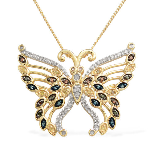 Multi Colour Diamond (Rnd) Butterfly Pendant with Chain in 14K Gold and Platinum Overlay Sterling Silver 0.250 Ct.