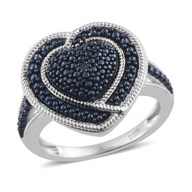 Designer Inspired - Blue Diamond (Rnd) Heart Ring in Platinum and Blue Overlay Sterling Silver, Silver wt 3.20 Gms.