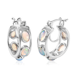 Ethiopian Welo Opal (Ovl) Hoop Earrings in Platinum Overlay Sterling Silver 3.00 Ct, Silver wt 7.30