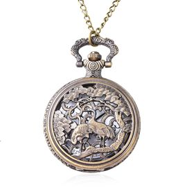 STRADA Japanese Movement Crane Pattern Water Resistant Pocket Watch with Chain (Size 30)