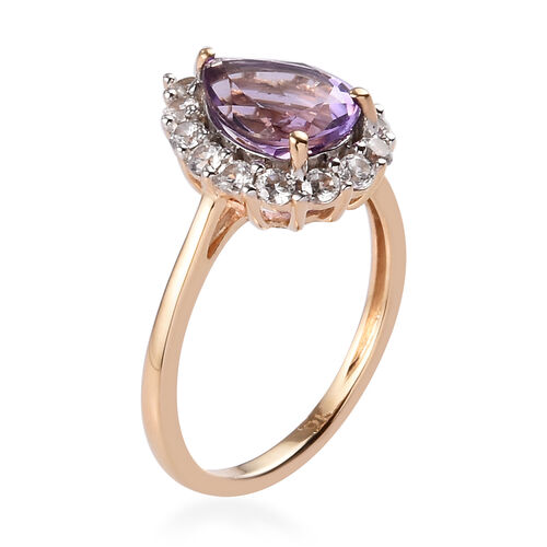 9K Yellow Gold AA Amethyst and Natural Cambodian Zircon Ring 2.10 Ct.