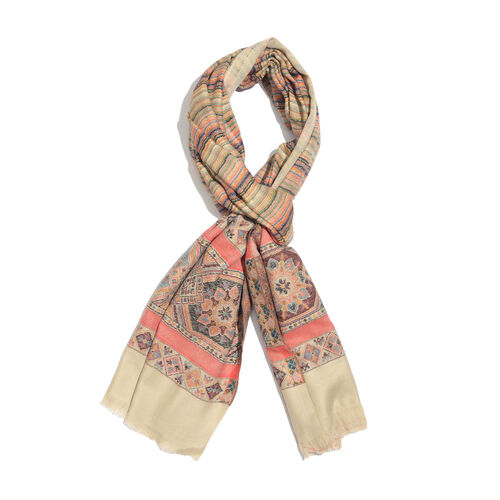 Cotton Beige, Green and Multi Colour Wavy Stripes Pattern Jacquard Scarf with Fringes (Size 200X70 Cm)