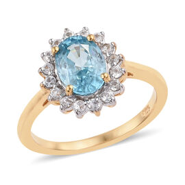 Blue Zircon (Ovl), Natural Cambodian Zircon Ring in 14K Gold Overlay Sterling Silver 2.250 Ct.